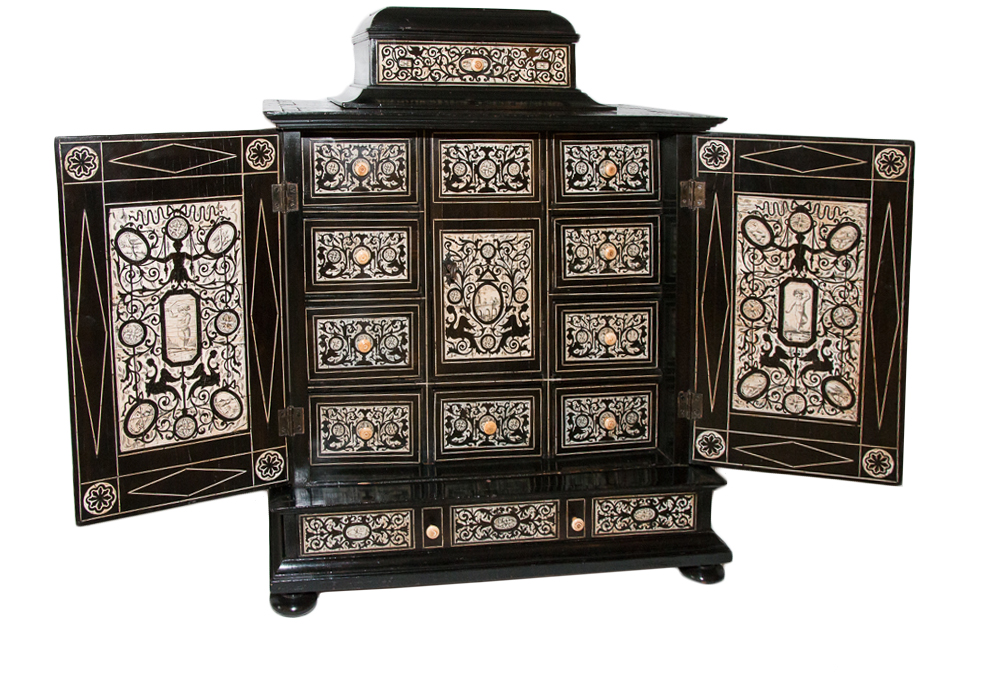 Italian Cabinet In Ebony And Ivory Eighteenth Century