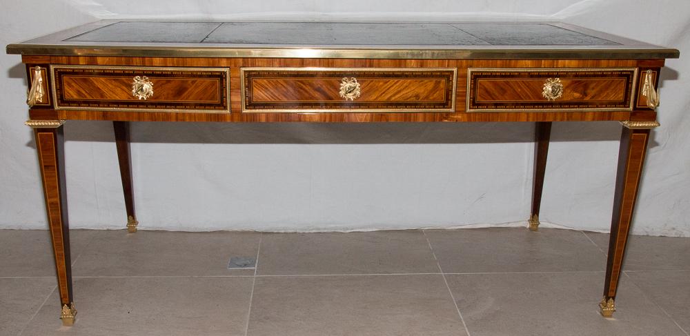 Grand Bureau Plat En Marqueterie époque Louis XVI