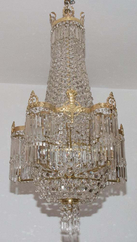 Lustre En Cristal Et Bronze Doré époque Restauration