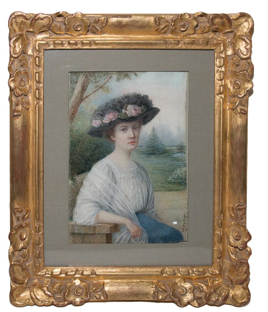 Portrait d'Une Jeune élégante Par A Philippon Simonet Datée 1910