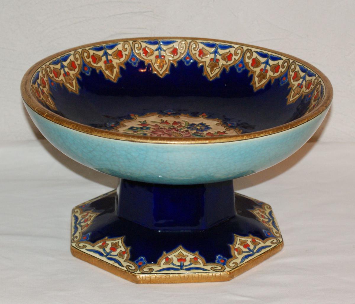 In Cup Of Longwy Enamels By Mp Chevalier 1951