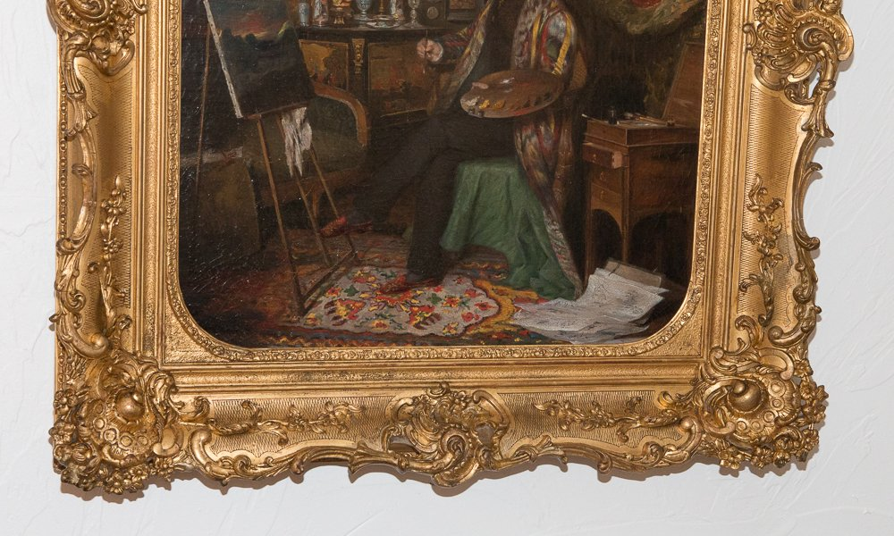 """The painting lesson"" signed Aimé DALLEIZETTE and dated 1836 Louis Philippe Era Signed in red, bottom right Oil on canvas depicting a bourgeois taking his painting lesson In his living room, the palette in hand he painted a landscape Painting genre very detailed, we can see paintings on the wall, objects placed on furniture with Chinese decor, a small piece of watercolor, hangings, a carpet etc ... In its original wooden frame and gilded stucco, very ornate The signature is hidden by the frame cleaned by a professional In very good condition Dim of the canvas: 51 cm / 61 cm * Aimé DALLEIZTTE born in Geneva 1799-? Painter of genre and oil portrait, Paris, Quai Malaquais Student of Hersent, he exhibited several portraits in the salon of 1827. He gives lessons"