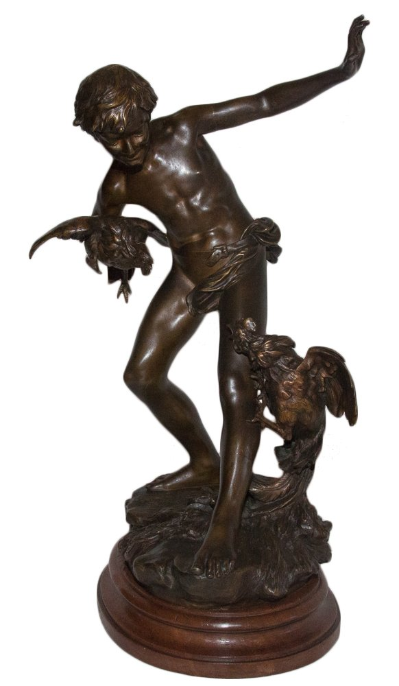 "Bronze sculpture with double patina, brown and bronze ""The Combat of Roosters"" Signed on the terrace Paul Chevré 1866-1914 Representing a young boy holding a rooster in his right hand, the second at his feet (Old Flemish tradition) carries the stamp JOLLET & CIE BRONZES PARIS old COLIN house Posed on an oval base in molded walnut Beautiful patina In very good condition Period early twentieth century (between 1906 and 1911 according to the seal of the founder) Height of bronze alone: 48 cm * Paul Roman CHEVRÉ French sculptor born in Brussels of French parents July 5, 1866 and died Asnières sur Seine February 20, 1914 * JOLLET & CIE- around 1906-1907 / 1923 Around 1906/1907 the company changed ownership and became ""Jollet & CIE"", while keeping, the name: ""Old House Colin"" at least until 1911, date to which Jollet publishes more announcement than in his name."