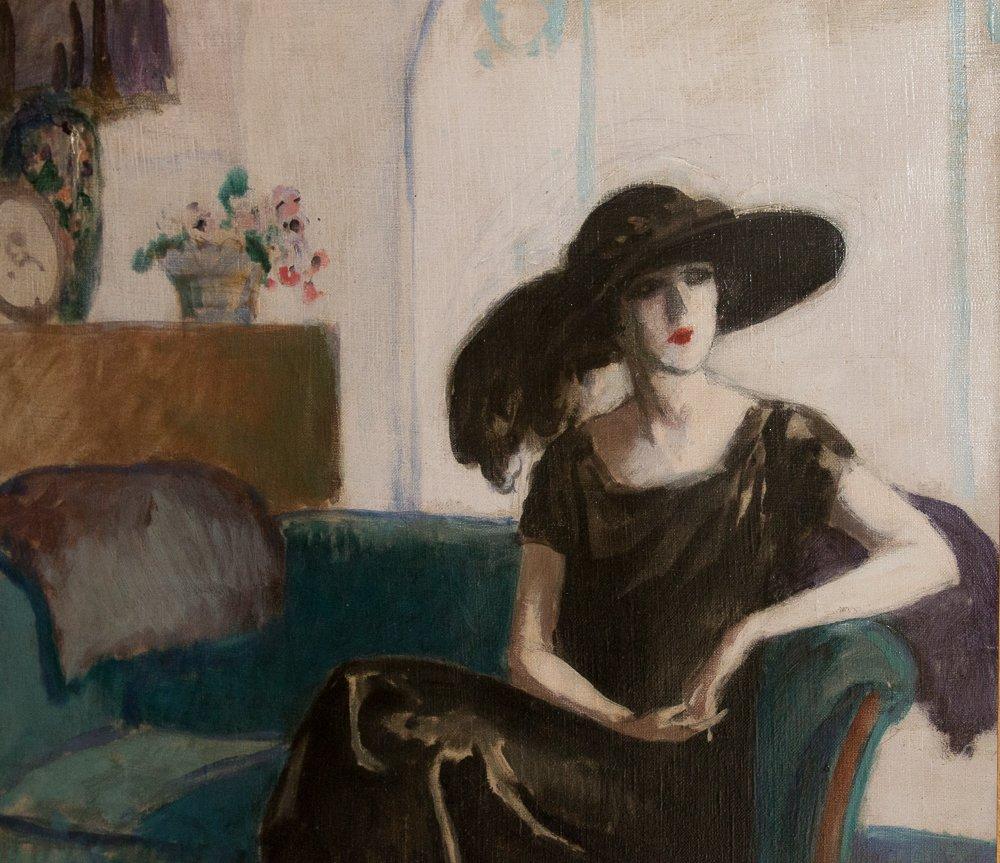 Brunette Woman At The Divan Marcel Cosson 1878-1956
