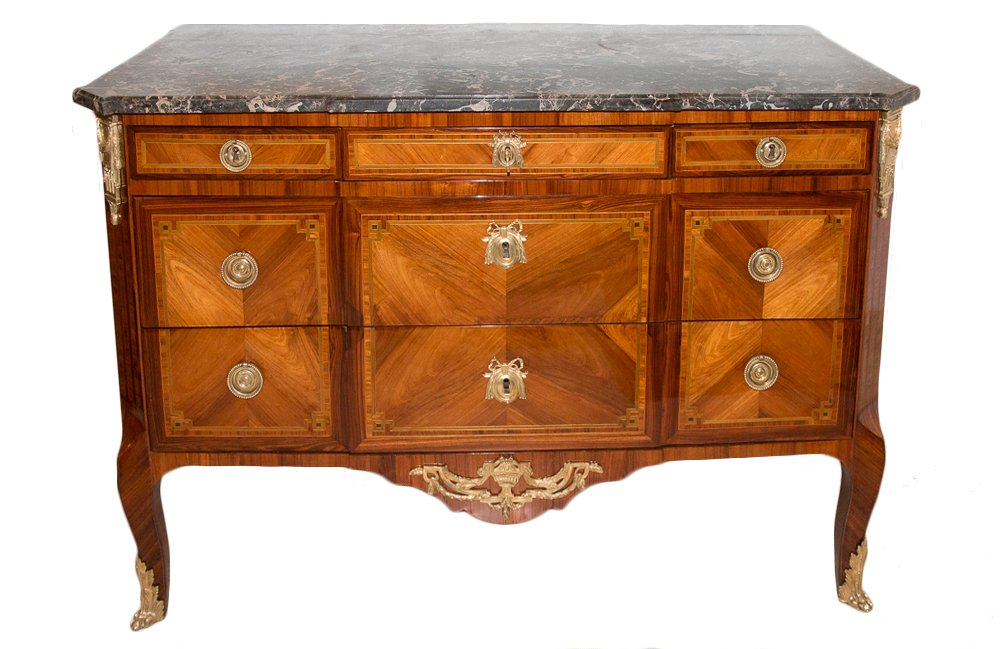 Commode En Marqueterie Époque Transition P-f Guignard