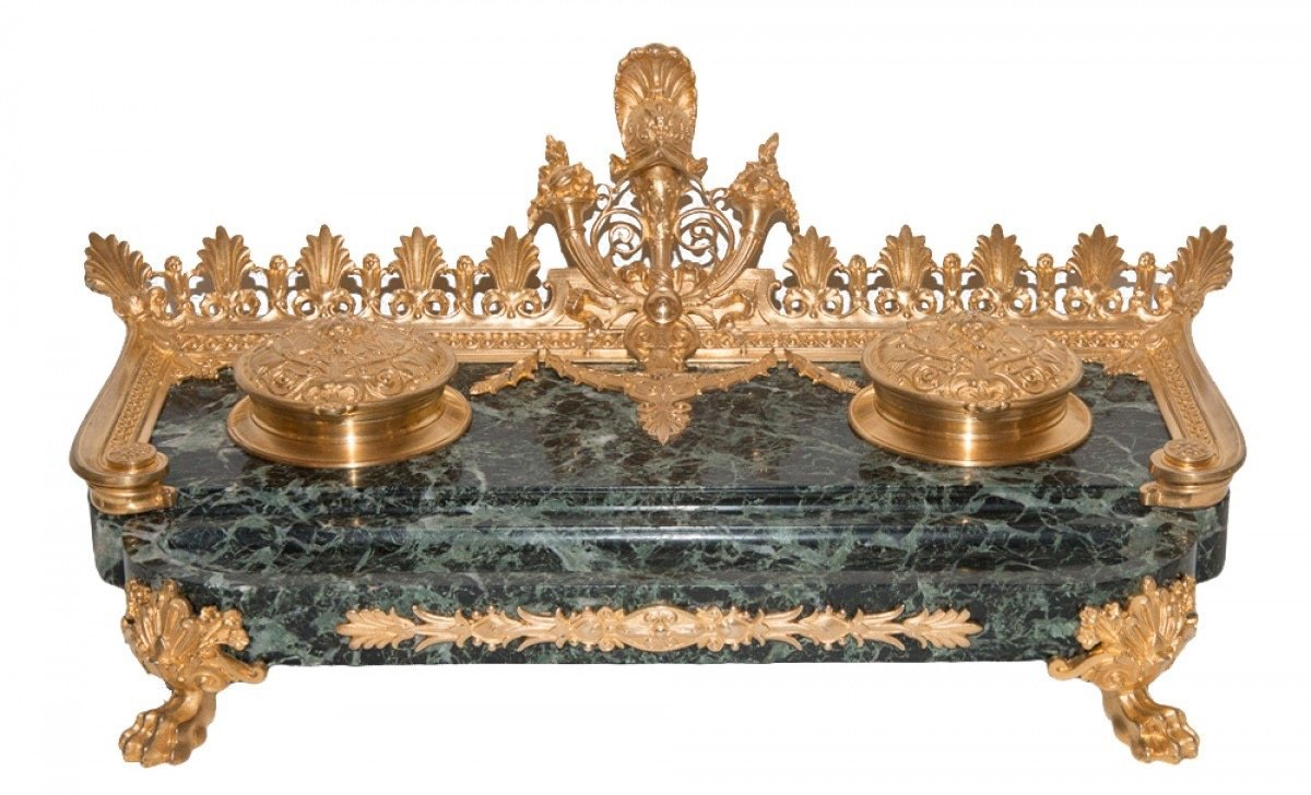 Inkwell Marble And Gilt Bronze F Barbedienne