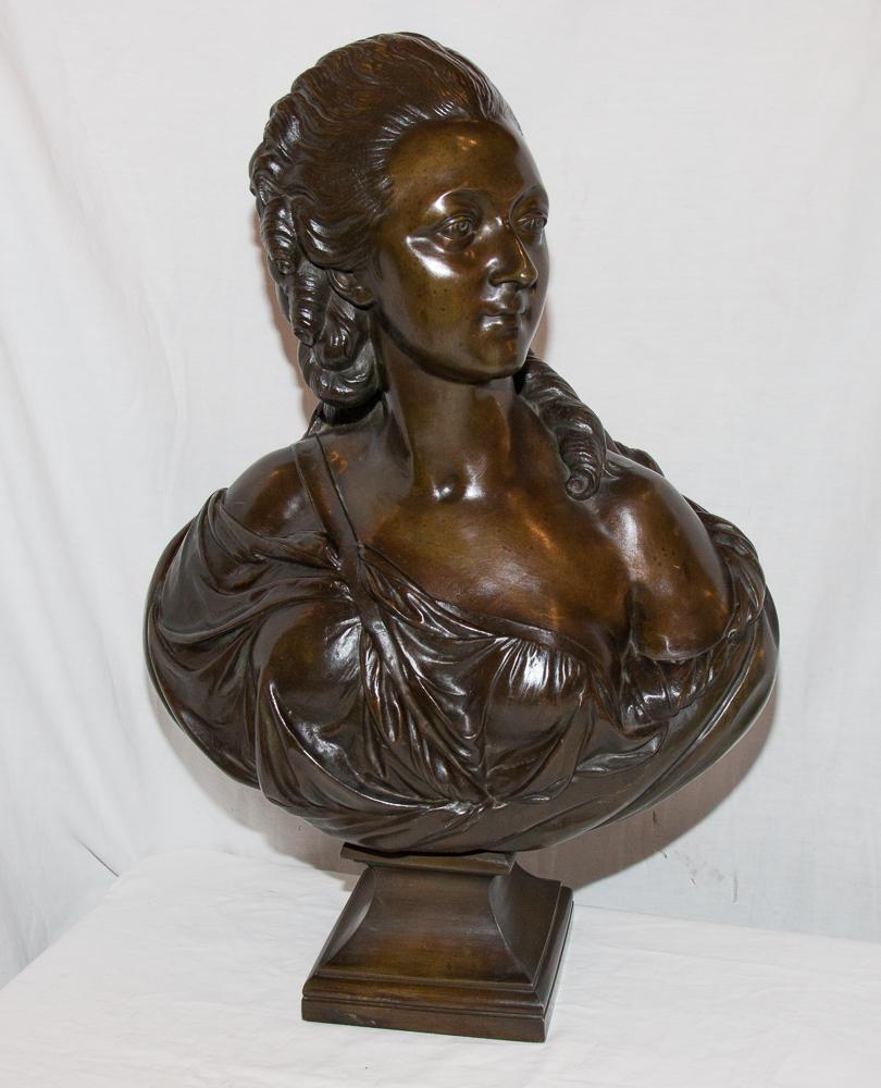 """Grand Buste En Bronze """"comtesse Du Barry"""" d'Après Pajou 19ème Siècle"""