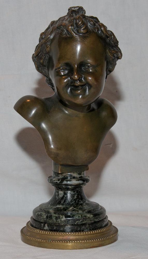 Buste d'Enfant En Bronze Signé Clodion Début 19ème Siècle