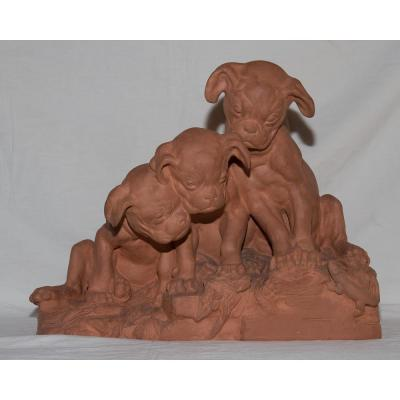 """Terracotta """"three Puppies"""" Signed Georges Lucien Vacossin Early Twentieth"""