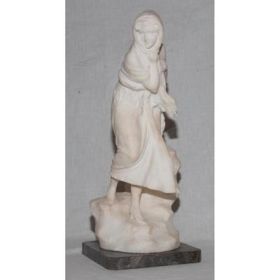 "Sculpture En Albâtre ""la Frileuse "" Signée A. Del Perugia (XIX-XX)"