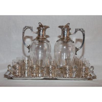 Service Liqueur Crystal And Silver Plated Gallia Early Twentieth Century