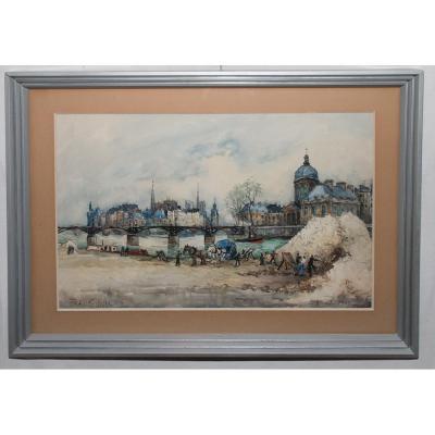 """Aquarelle """" Le Pont Des Arts """" Paris , Signée Frank Will 1929"""