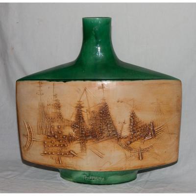 Flat Ceramic Vase Signed Vallauris Portanier Circa 1960