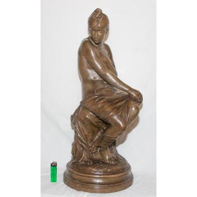 """Terracotta Sculpture """"bather"""" Signed Delaroche 1797-1856"""