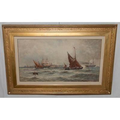 Watercolor Signed Tb Hardy British Navy In 1889