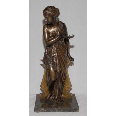 "Bronze ""woman Antique"" Signed Peiffer 1832-1886"