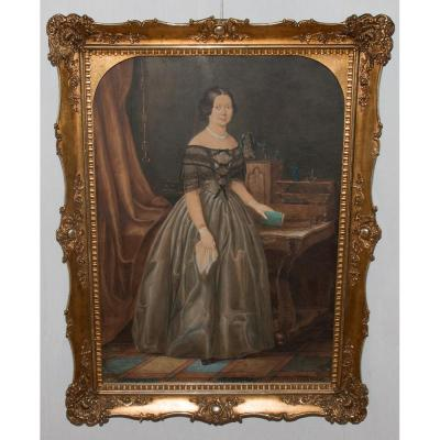 Watercolor, Portrait Of A Woman, Signed And Dated 1849 L Kergel