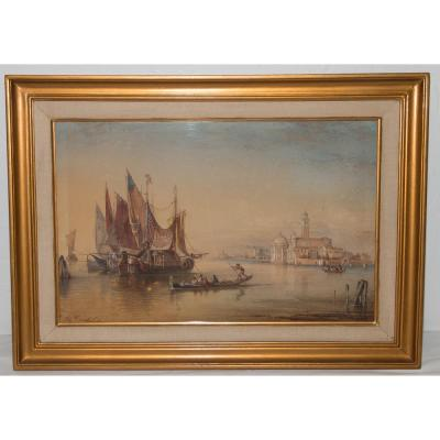 Signed Watercolor From Venice Ercole Trachel 1820-1872