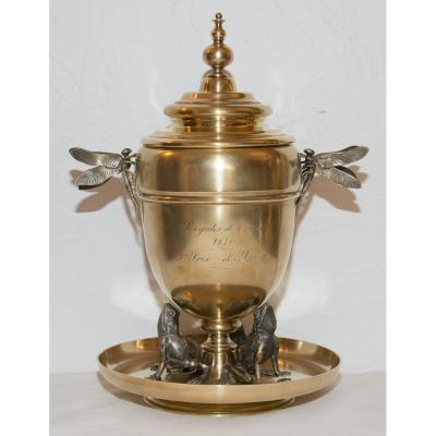 """Coupe En Bronze Doré Signée """"Maison Alphonse Giroux"""" 1870"""