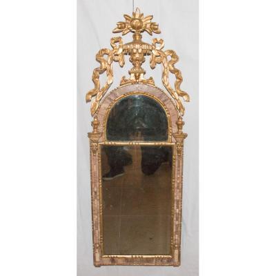Miroir Italien En Bois Doré Et Marbre époque XVIIIe