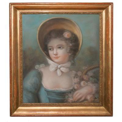 Portrait De Jeune Femme, Pastel époque XIXe Siècle