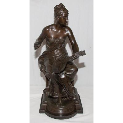 Bronze  « La Joueuse De Mandoline » Luca Madrassi (1848-1919)