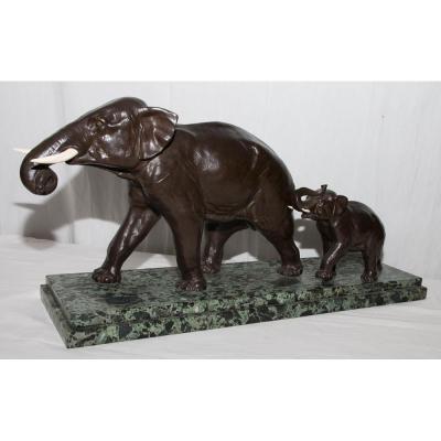 """Bronze """"eléphant Et Son Petit"""" Signé Irénée Rochard Début XXe Siècle"""