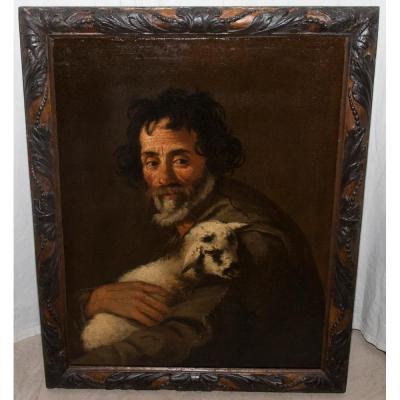 Portrait d'Un Berger Avec Un Agneau Epoque  XVIIIe Siècle