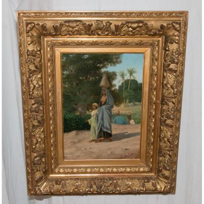 """Tableau Orientaliste """"la Porteuse d'Eau"""" Circa 1880"""