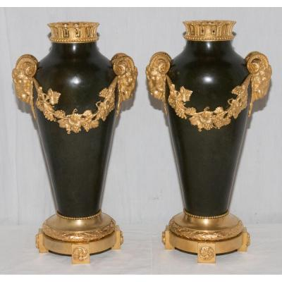 Pair Of Vases In Bronze Stamp Thiebaut Brothers Paris Circa 1900