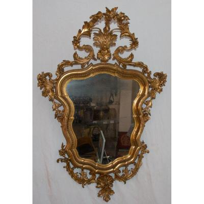 Italian Mirror Gilded Wood Period Mid 19th Century