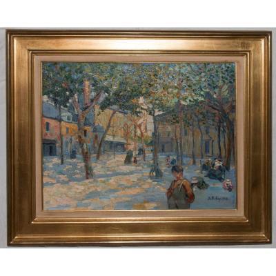 """Montmartre """"la Place Du Tertre """" Signé Pierre De Belay 1918"""
