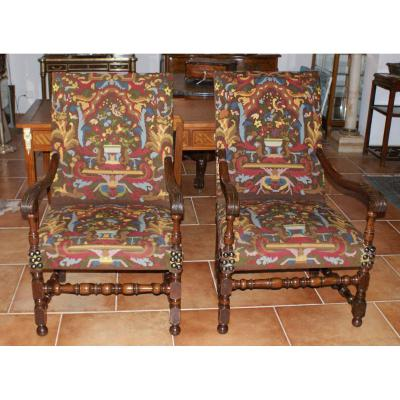 Pair Of 18th Century Armchairs Louis XIII