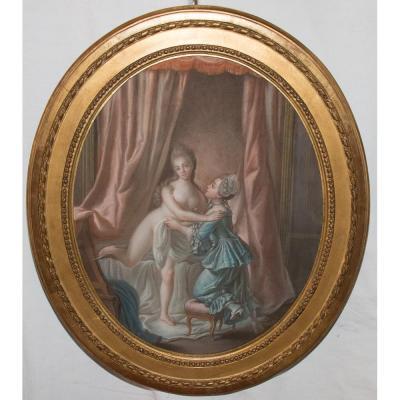"Pastel Ovale ""la Toilette"" Style Louis XVI , XIXe Siècle"