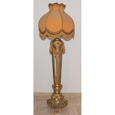 Grand Lampadaire En Bronze Doré  Circa 1900 Style Louis XVI