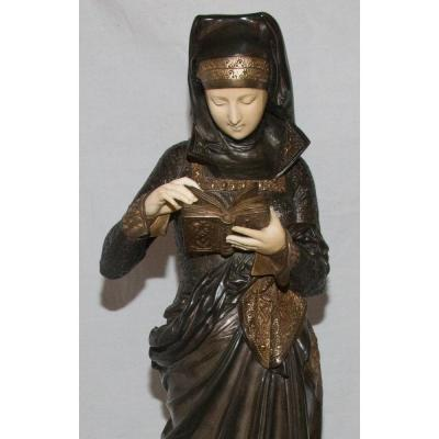 Grand Bronze Chryséléphantine Liseuse De Carrier Belleuse 1824-1887