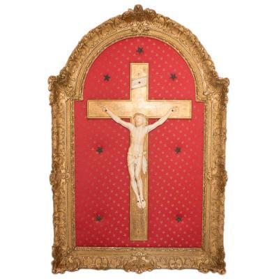 Grand Christ En Ivoire  époque Régence Début XVIIIe Siècle