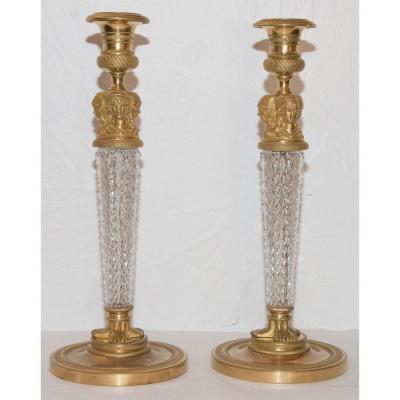 Paire De Bougeoirs En Cristal Taillé Et Bronze Doré D'époque Charles X