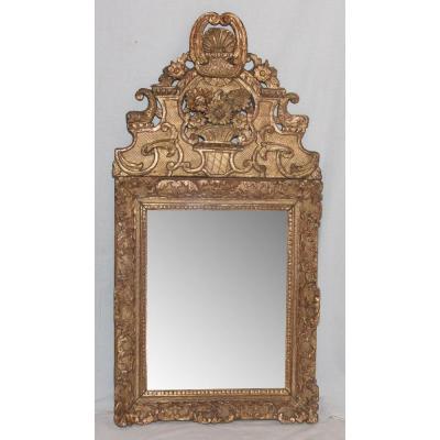 Miroir En Bois Sculpté Et Doré Époque Régence Circa 1720