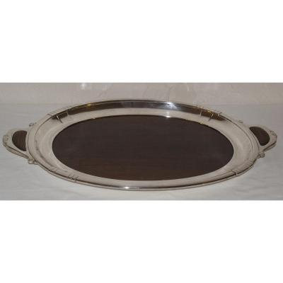 Tray Art Deco Bronze Silver And Rosewood
