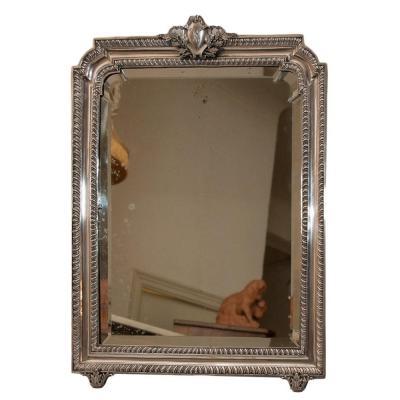 Grand Miroir De Table Italien En Argent Massif daté 1900