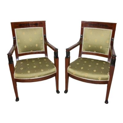 Pair Of Armchairs In Mahogany Empire 1st Time