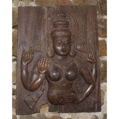 Panneau En Bois Sculpté Déesse Hindoue début 19ème