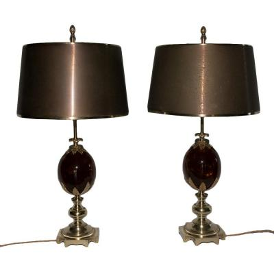 Pair Of Lamps Maison Charles 1960-1970