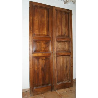 Great Pair Of Doors In Walnut Solid Early 20th Century