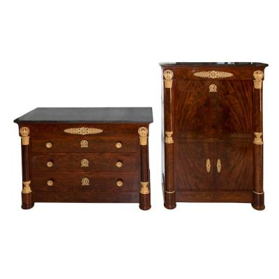 Secretary And Commode Empire Period C. Lemarchand