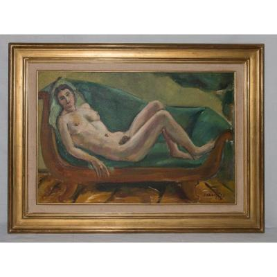 """naked Woman At The Chaise"" Jules Cavailles Dated 1923"