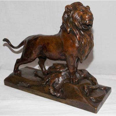 Lion De Nubie Et Sa Proie Auguste CAIN