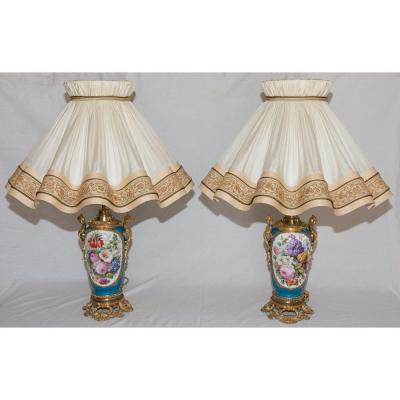 Pair Of Paris Porcelain Lamps Napoleon III