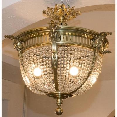 Corbeille Ceiling Chandelier, Claude Berlie, Late 19th Century